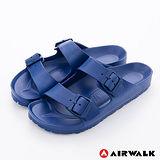 AIRWALK - AB拖 優雅雙扣 輕量防水EVA羅馬休閒拖鞋 - 深藍