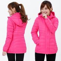 【遊遍天下】女款顯瘦JIS90%羽絨防風防潑水極暖羽絨外套G0355粉紅