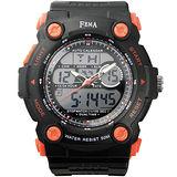 FEMA 菲瑪 當兵系列 強悍時尚 計時鬧鈴 雙顯運動錶/黑-48mm/P367