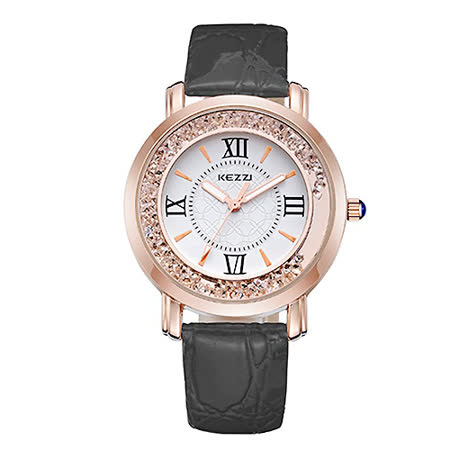 【17mall】珂紫KEZZI罗马复古创意流沙水钻皮带石英手表-黑