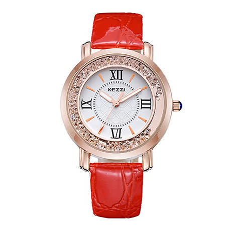 【Chimon Ritz】珂紫KEZZI罗马复古创意流沙水钻皮带石英手表-红