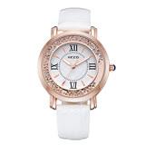 【Chimon Ritz】珂紫KEZZI羅馬復古創意流沙水鑽皮帶石英手錶-白