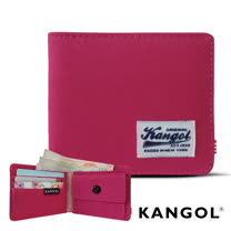 KANGOL 韓式潮流 多夾層/零錢袋橫式短皮夾+鑰匙圈禮盒-帆布桃紅 KG1162