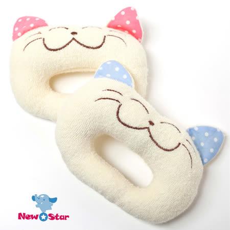 【聖哥Newstar】MIT貓咪嬰兒手搖鈴-藍色粉紅色-愛動物超可愛-聲音刺激成長發展-柔軟好握