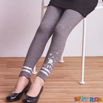 【Betty Boop貝蒂】條紋亮膠印褲管鬆緊棉質內搭褲(灰色)