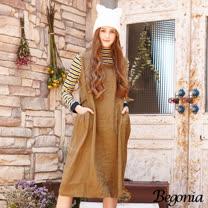 【Begonia】腰綁帶剪裁無袖亞麻洋裝(共二色)