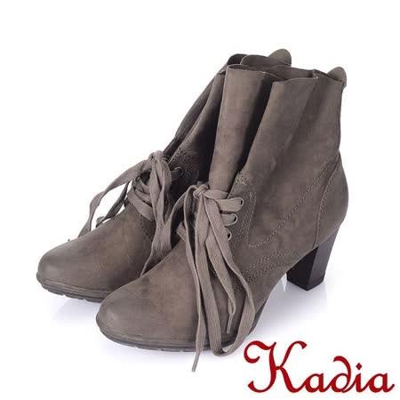 Kadia.率性自然繫帶中跟短靴(棕色)