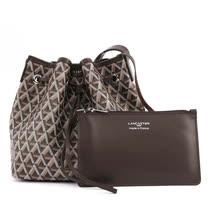 【LANCASTER】IKON系列幾何圖形牛皮側背水桶包(小)(栗子色)