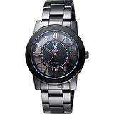 【VOGUE】曼波系列鏤空藝術腕錶-玫塊金時標x黑/38mm(9V1601-141D-DRG)