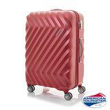 AT美國旅行者 24吋Zavis立體閃電防刮耐磨飛機輪硬殼TSA行李箱(紅織紋)