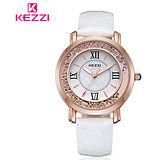 【17mall】珂紫KEZZI羅馬復古創意流沙水鑽皮帶石英手錶-白