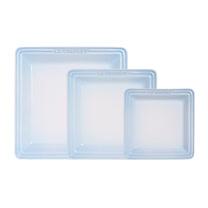 LE CREUSET 瓷器正方盤 16/21/27cm-各1入 (淡粉藍)