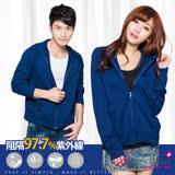 【BeautyFocus】台灣製抗UV認證吸濕排汗防曬連帽外套-5081深藍色