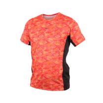 (男) MIZUNO 路跑短袖T恤-短T T恤 慢跑 美津濃 橘紅黑
