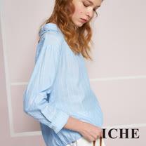 ICHE 衣哲 船領條紋造型襯衫藍上衣
