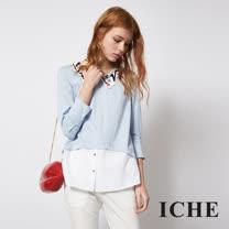 ICHE 衣哲 造型領兩件式百搭拼接造型上衣