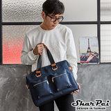 【SharPei沙皮狗】韓系休閒雙拉鍊口袋手提兩用包 【SP02-001B】活力藍