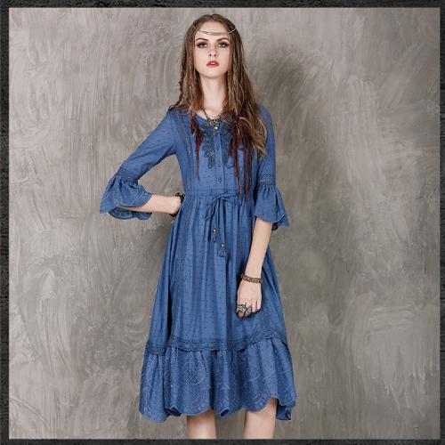~維拉森森中大 ~波西米亞風繡花七分袖連身長裙