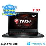 msi 微星 GS43VR 7RE-077TW 14吋FHD/i7-7700HQ/GTX1060獨顯/WIN10輕薄電競筆電