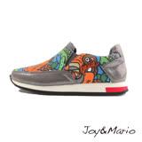 【Joy&Mario】歐美塗鴉運動休閒鞋 - 73033W DK GREY-美碼6.5