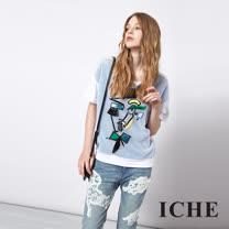 ICHE 衣哲 個性幾何人像拼接造型上衣 兩色