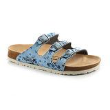 Papillio 454841。FLORIDA佛羅里達 三條復古拖鞋(天藍小碎花)