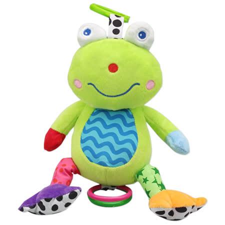 寶寶幼兒牙膠鈴鐺聲響毛絨玩具玩偶 -音樂青蛙