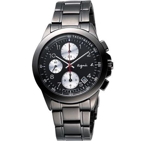 agnes b 閃耀自我三眼計時腕錶-IP黑/40mm 7T92-0LY0K(BF8320P1)