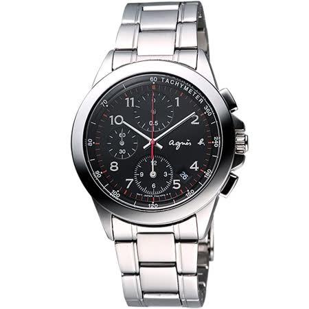 agnes b 閃耀自我三眼計時腕錶-黑/40mm 7T92-0LY0D(BF8319P1)