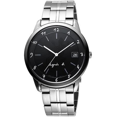 agnes b 蜥蜴圖騰刻畫時尚腕錶-黑/40mm VJ52-00A0D(BP9001J1)