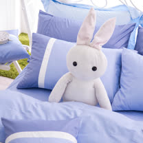 OLIVIA《MOD 7 銀藍X白X水藍》標準單人床包冬夏兩用被套三件組 素色英式簡約系列