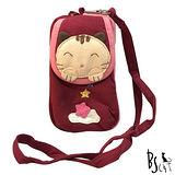 ABS貝斯貓 可愛貓咪拼布包 複合收納功能零錢/證件包(暗紅)88-188