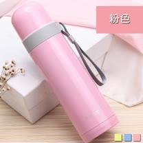PUSH! 戶外休閒用品不銹鋼雙層無尾真空保溫水壺保溫瓶500ml保溫杯E86粉色