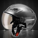 【ZEUS 瑞獅 ZS-127B 素色 雪帽】半罩安全帽│LED安全行車│內襯全可拆│日式飛行鏡片│通風孔設計