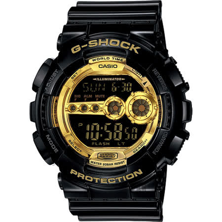 CASIO 卡西歐 G-SHOCK 黑金 高亮度LED運動錶 GD-100GB-1DR