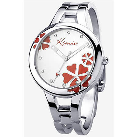 【17mall】金米欧KIMIO亮彩晶钻幸运草时尚气质女用手镯手表-蔷薇红