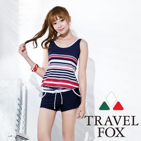 【旅狐TRAVEL FOX】大女條紋印花連身褲兩件式-加大碼C16711