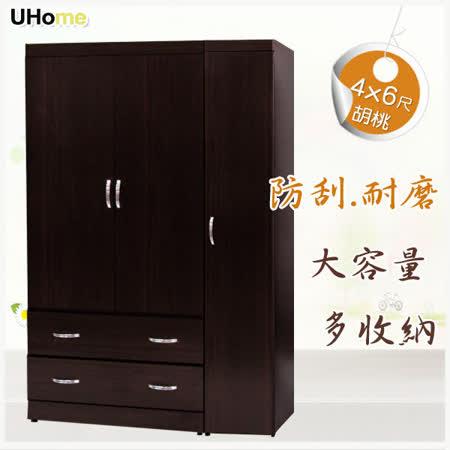 【UHO久澤木柞】經典麥客4x6尺三門二抽組合式衣櫥