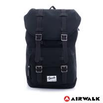 AIRWALK- 文青小子 水洗帆布雙扣蓋束口後背包 - 黑
