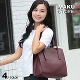 【MAKU STORE】日韓學生簡約百搭大容量軟皮側背托特包-紅色