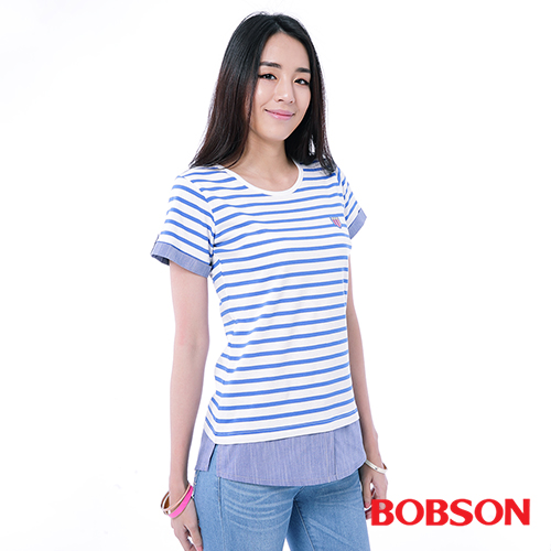 BOBSON 女款條紋拼接假兩件上衣 26102~54