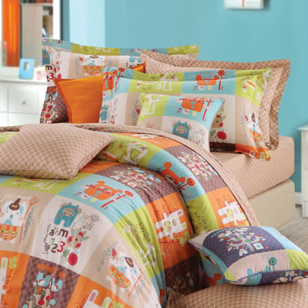 IN HOUSE--Colorful montaget-200织纱精梳棉-两用被床包组(橘色-特大)