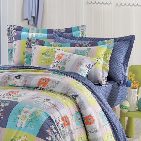 IN HOUSE-Colorful montaget-200织纱精梳棉-两用被床包组(蓝色-加大)