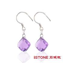 石頭記925純銀紫水晶耳環-方戀