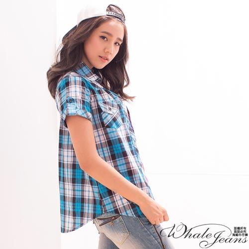 英式 款 格紋短袖顯瘦襯衫~2色_藍