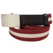 BALLY 時尚配件 經典紅白紅織帶皮帶. 110CM