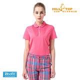 【hilltop山頂鳥】女款Zisofit吸濕排汗彈性POLO衫S14FD8熱粉紅