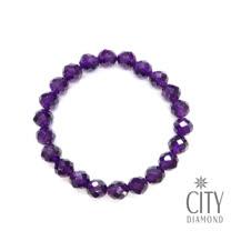 City Diamond引雅 紫水晶圓珠切角手鍊(TCB0539)