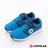 AIRWALK(童)- 小魚遊 透氣網布方便黏扣兒童運動鞋-中藍藍