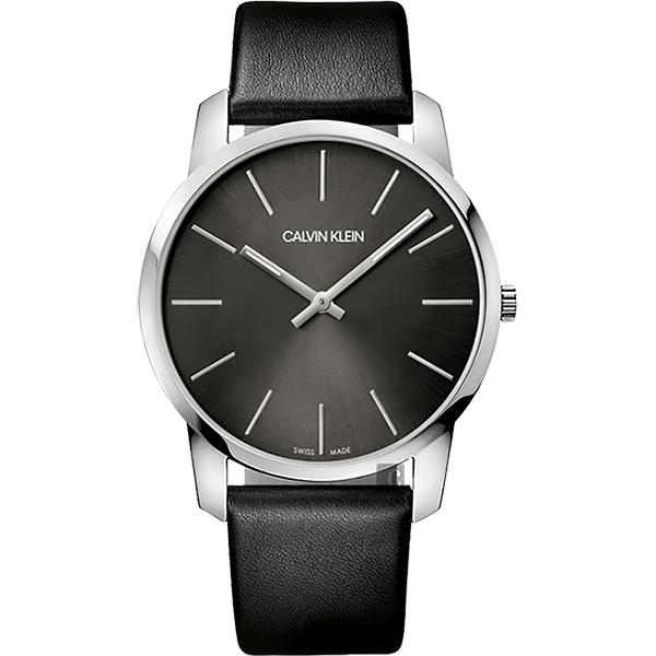 Calvin Klein CK City 極簡 LOGO腕錶~銀x黑 43mm K2G21